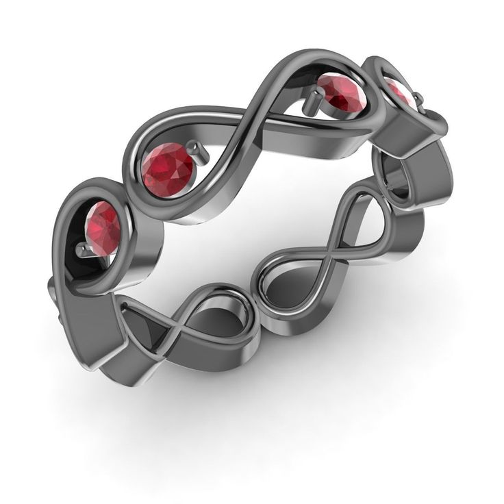 Natural Round AA/AAA Ruby Twisted Band in 14K Black Gold - Diamonds & Gemstones