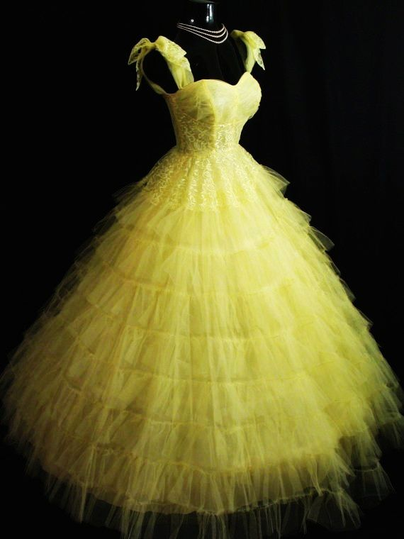 Lemon yellow tulle lace tiered layered party prom wedding dress gown