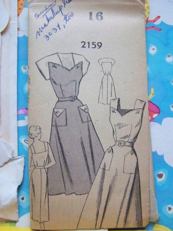 Vintage 1950s Mail Order 2159 SUNDRESS DRESS Pattern sz 16 bust 34 ...