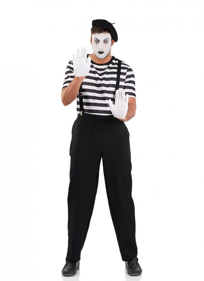 Men/'s French Man Mime Artist Fancy Dress Costume Gloves Hat Shirt Braces New