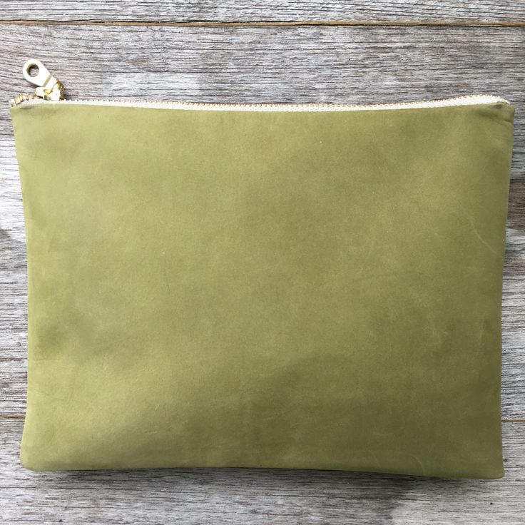 Olive Green leather Nubuck Pouch.