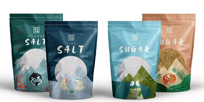 salt and sugar - Designed by Beatric Bellassi, the 'BooM' salt and sugar packaging utilizes the characteristics of the product to tell a story through t...