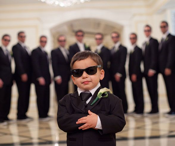 Be men in black! This is your ring bearer's time to shine. But, a man can't travel alone, so the rest of your groomsman can provide some backup. Wedding Photos, Wedding Party