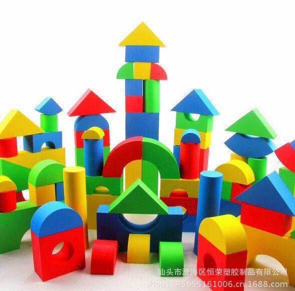 Hot Selling EVA Safe Children Building Brick Block Foam Construction Soft Toy Kid Zip Case 50 pcs Kids Intelligence Exercise