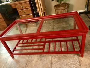 Red Coffee Table with shelf for storage