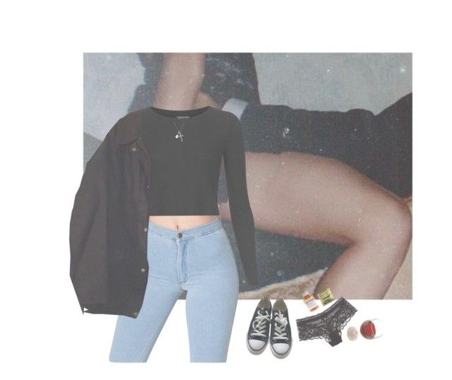 """john, i'm only dancing"" by pizzamilkshake ❤ liked on Polyvore featuring Converse, American Apparel, Topshop, Barbour, Lise Charmel and Børn"