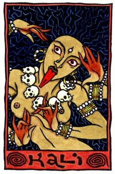 Finally her three eyes represent the sun, moon, and fire, with which she is able to observe the three modes of time: past, present and future. This attribute is also the origin of the name Kali, which is the feminine form of 'Kala', the Sanskrit term for Time.