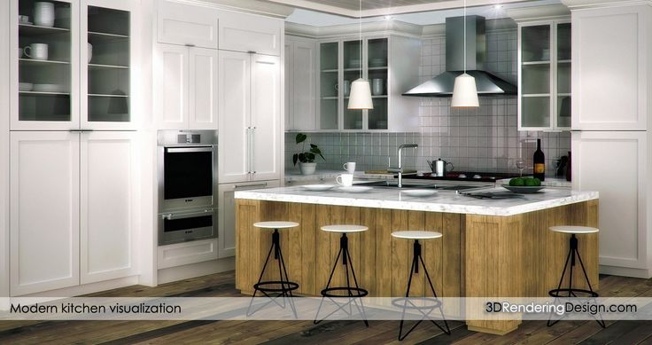 Artistic kitchen 3d rendering.  An artistic rendering of a project kitchen, it has white wood, marble counters and modern appliances. Nordic style.