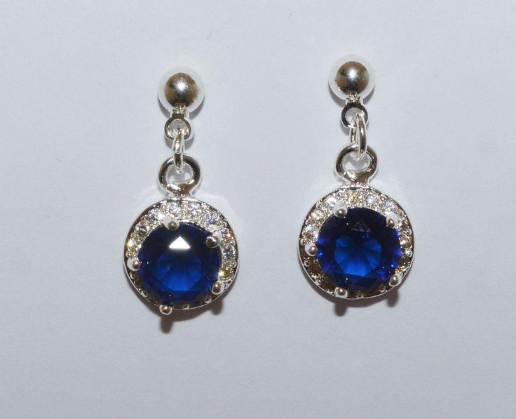 Blue dangle post earrings