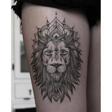 Resultado de imagem para tatuagem leão tribal