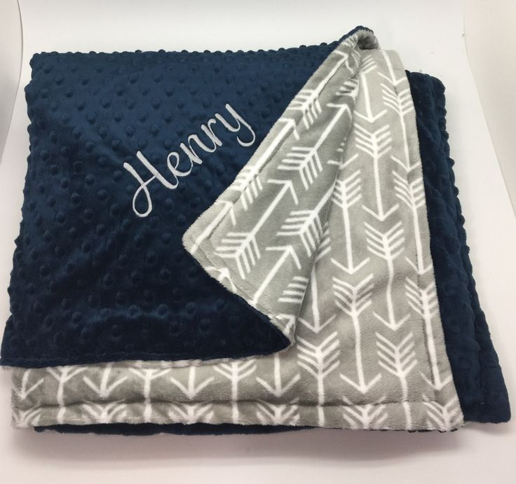 SALE Personalized baby boy blanket, monogrammed gift for boys, Toddler blanket, gift for baby boy, personalized baby shower gift, arrow navy by CustomThreadsShop on Etsy