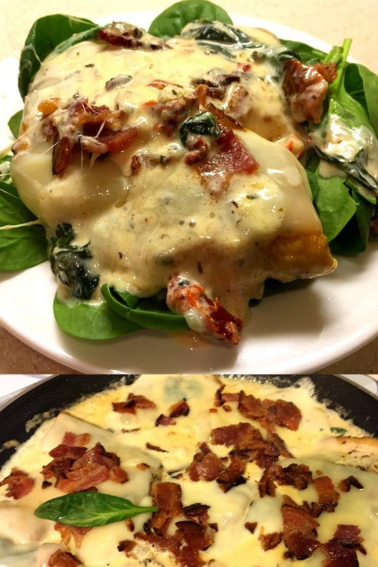 """""""** Creamy Garlic & Mozzarella Smothered Chicken Recipe ** Ingredients:  1 lb boneless skinless chicken cutlets (thin sliced chicken breast) 6 slices thick cut bacon (cook your bacon in the oven or on a pan until crispy and crumble) 6 slices mozzarella cheese 1 cup heavy cream 1/4 cup chicken broth 1 teaspoon garlic powder 1 cup fresh spinach  1/2 cup chopped sundried tomatoes (drained) 1 teaspoon parsley   olive oil salt & pepper to taste  Click the pin for details."