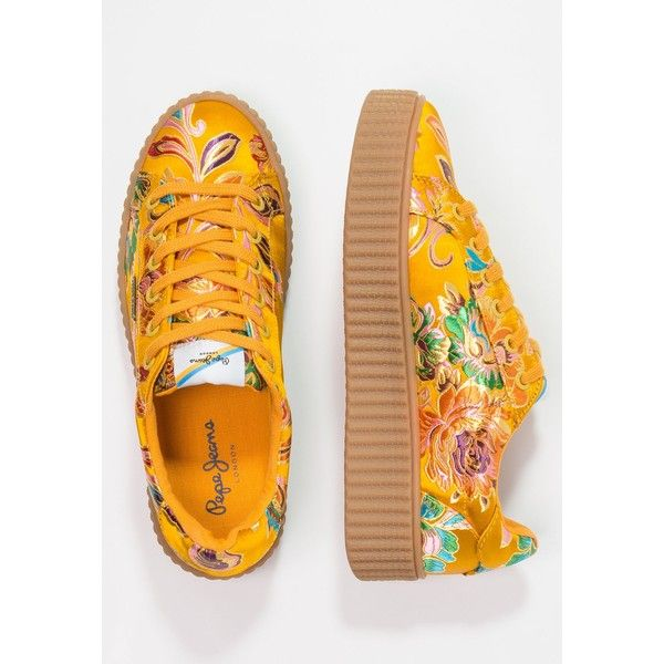Pepe Jeans FRIDA Sneakers ❤ liked on Polyvore featuring shoes, sneakers, yellow shoes, yellow sneakers and pepe jeans london