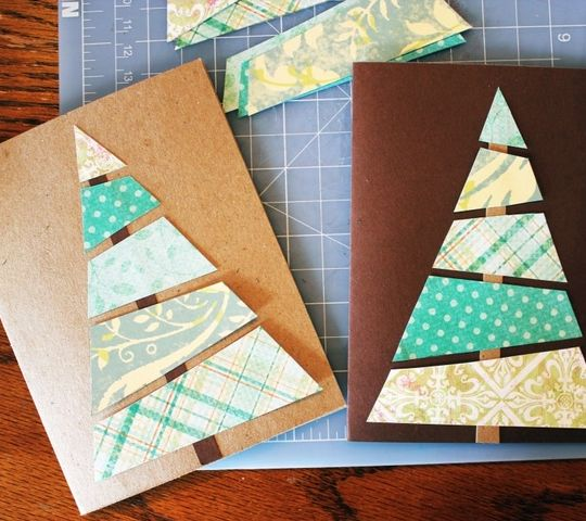 DIY Christmas Cards - Wallpaper Collage - Click pic for 25 Holiday Crafts