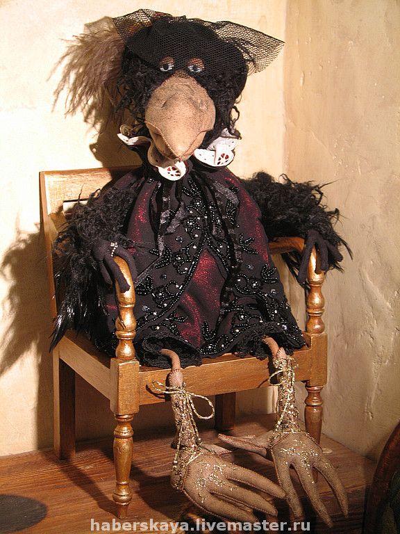 """Ворона белая и чёрная """"Посиделки"""" - белая ворона,текстильная кукла,текстильная ворона"""