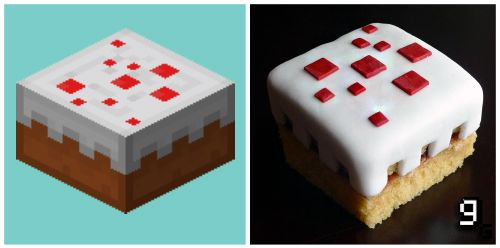 Minecraft 風ケーキ