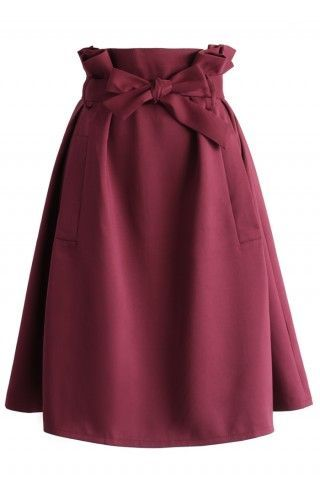 Sassy Tie-bow Midi Skirt in Burgundy - Retro, Indie and Unique Fashion