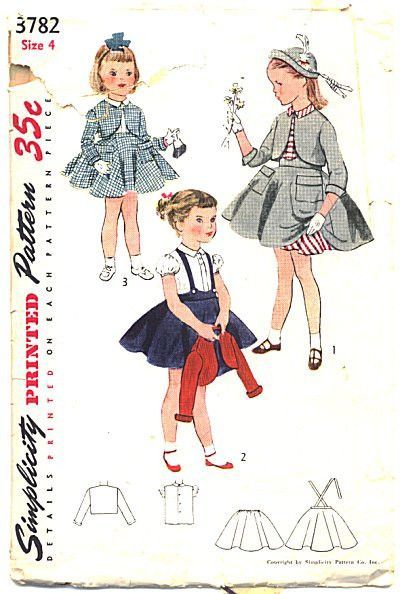 Vintage 1950's Girls Dress Sewing Pattern Simplicity 3782 Size 4 Waist 21 Peter Pan Collar Puffed Sleeves