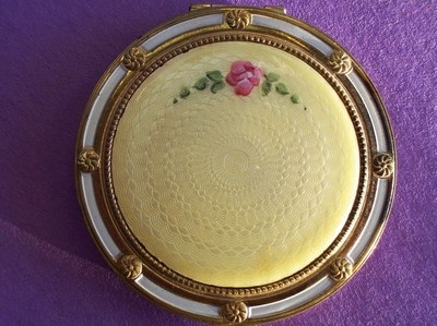 Antique Lemon Yellow Guilloche Powder Compact Makeup Vanity Vintage Case | eBay