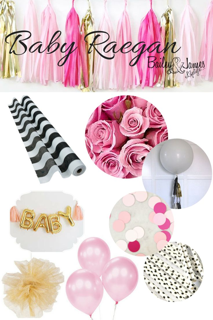 Shades of pink and gold with big bold black and white stripes and polka dots! Perfect party theme for a baby shower, wedding shower, birthday party and more! Party decor for a little girl.