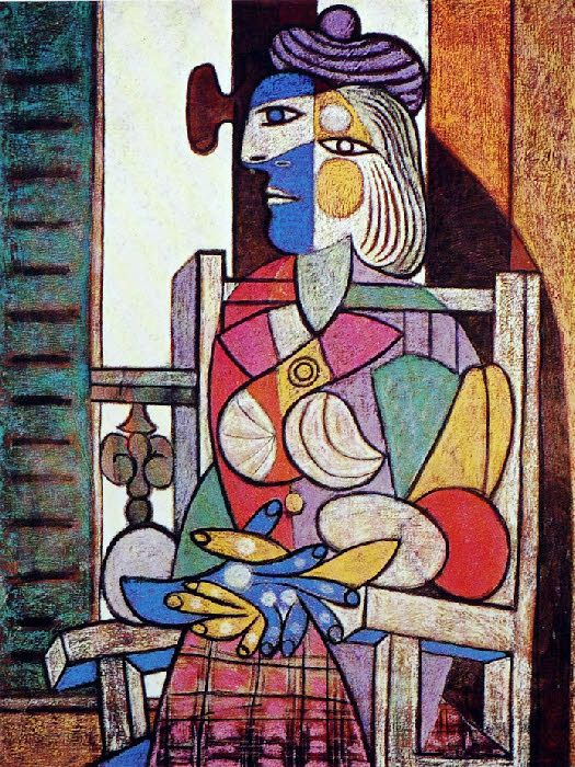 """Femme assise devant la fenêtre (Marie-Therese)""  by Pablo Ruiz Picasso in 1937"