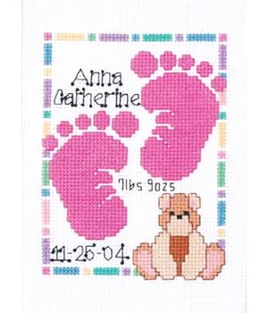 Nice footprints for cross stitch baby gifts