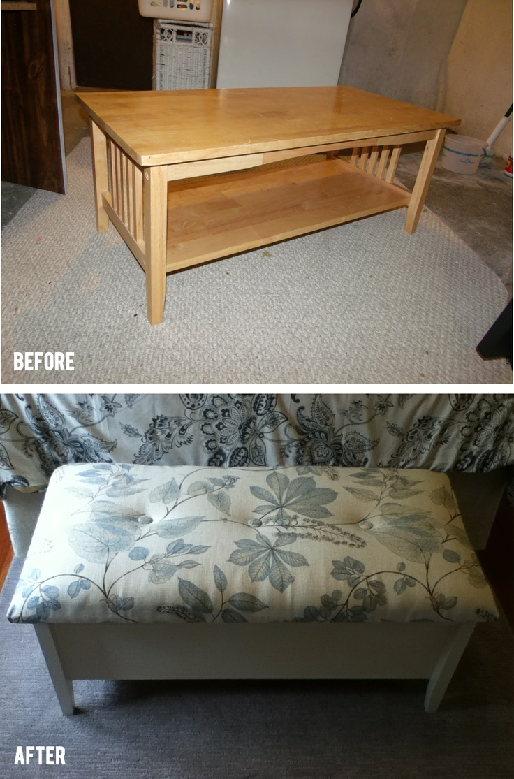 Refinished Coffee Table To Storage Bench Diy Beforeafter Crafty Chick Pinterest
