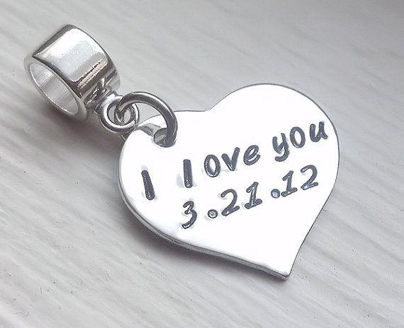 In My Heart Hand Stamped Personalized Charm - fits Pandora style bracelets! by JessieGirlJewelry on Etsy