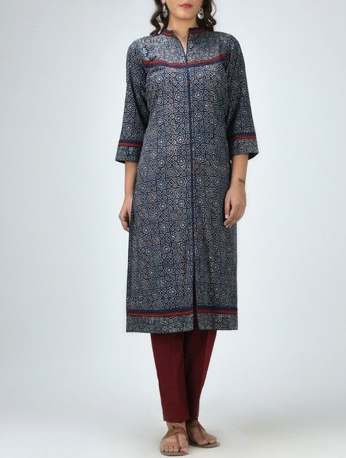 Blue Ajrakh Printed Cotton Kurta