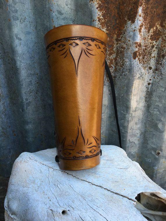 Adjustable Tooled Large Leather Archery Armguard door oklahomarebel