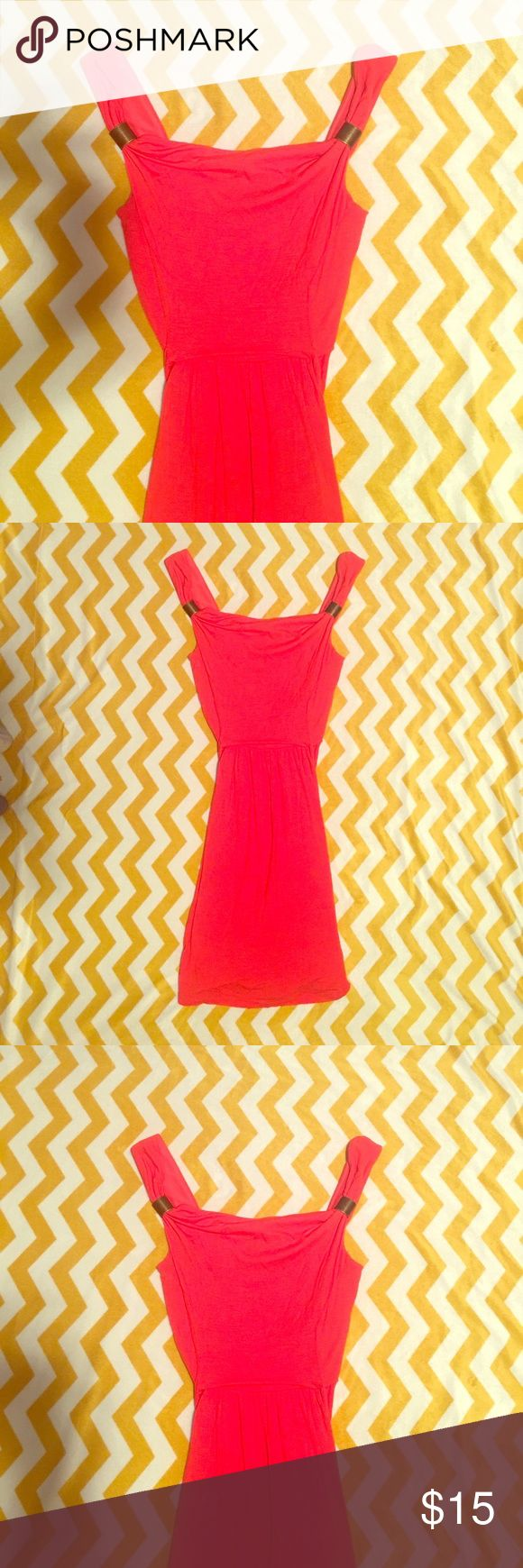 Coral summer dress Above the knee coral dress perfect for summer, ties in back and has gold/bronze strap detail Dresses Mini