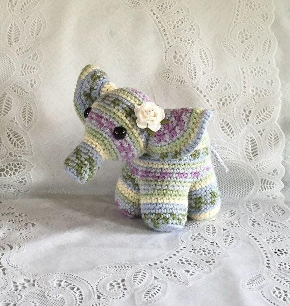 Sweet Little Crocheted Elephant  Ready to Ship  Nursery by meddywv