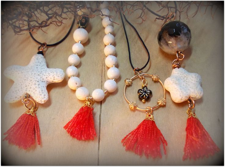 Summer pendants, corals, starfish, agate, red