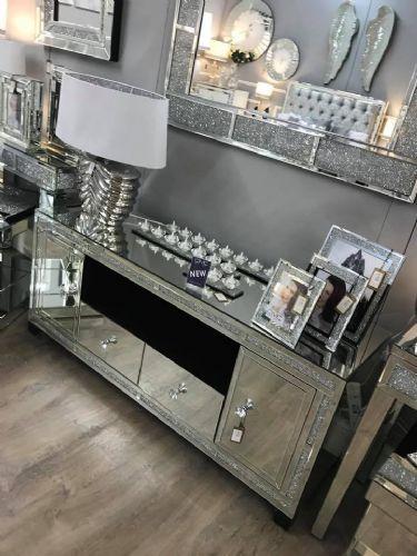Milan Mirrored Diamond Widescreen Tv Cabinet Bling Bedroom Diy Decor Furniture