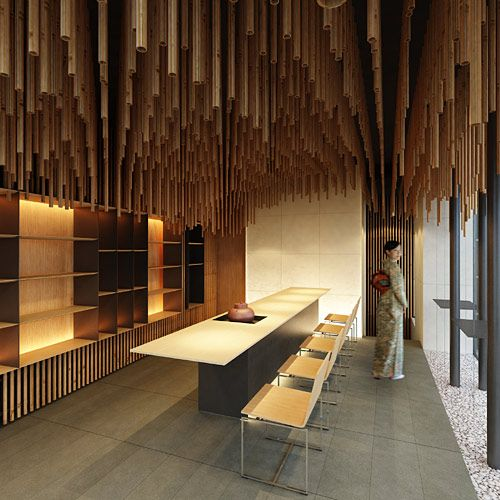 Japanese tea store Jugetsudo Paris, designed by Kengo Kuma, in Saint Germain des Pres