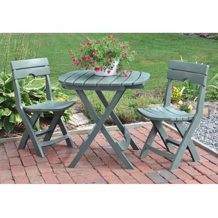 3 Piece Fast Fold Outdoor Light Weight Resin Furniture Bistro Set Sage Green