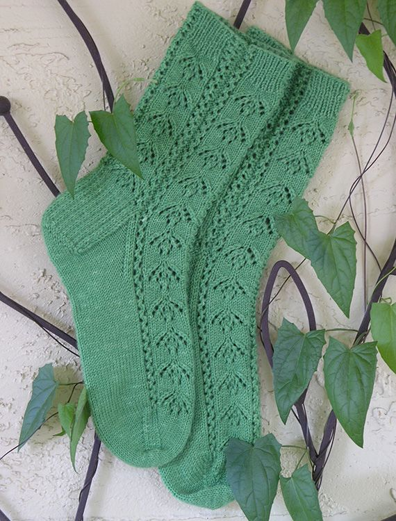 Summer Ivy Socks with columns of delicate lace - free pattern by Angela Ho - Elann