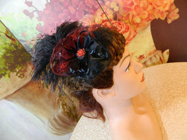 Fascinator black red rose Gothic Steampunk Lolita Headpiece Headdress clubbing by Nashimiron on Etsy