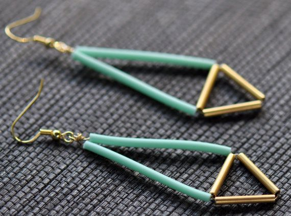 Neon Geometric Earrings  Mint and Gold Tube by knobbly on Etsy