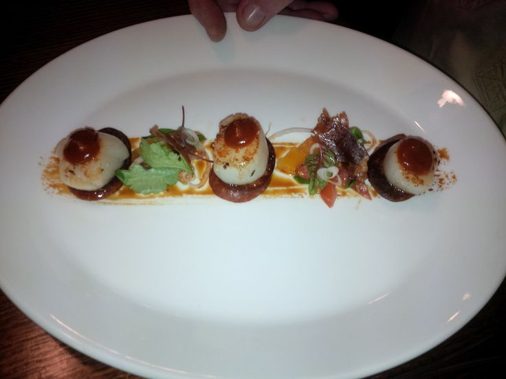 Entree of scallops overlooking the harbour at Port Macquarie