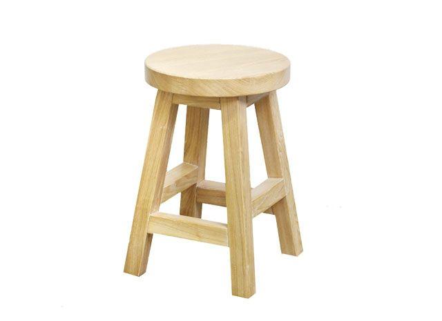 Solid oak kids stool in 5% lime
