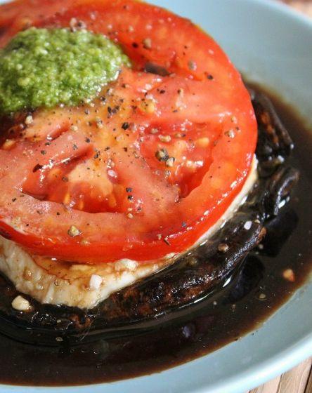 Grilled Portobello Mushroom Caprese Stack Recipe @carloglez