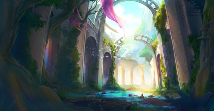 Never really posted this 'cause I'm not sure how to feel about it. It's my first sort of proper concept art-y… thing. I really want to crack through and be able to paint more landscape stuff, but it definitely doesn't come naturally to me. I ran out...
