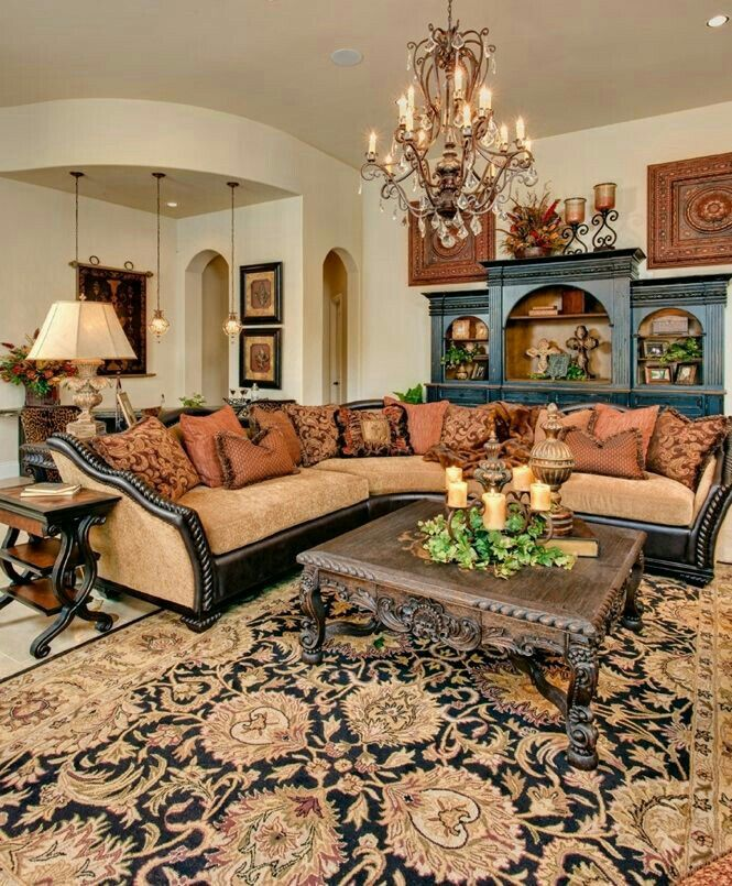 Gorgeous divine decor pinterest living rooms room and tuscan style for Tuscan living room furniture