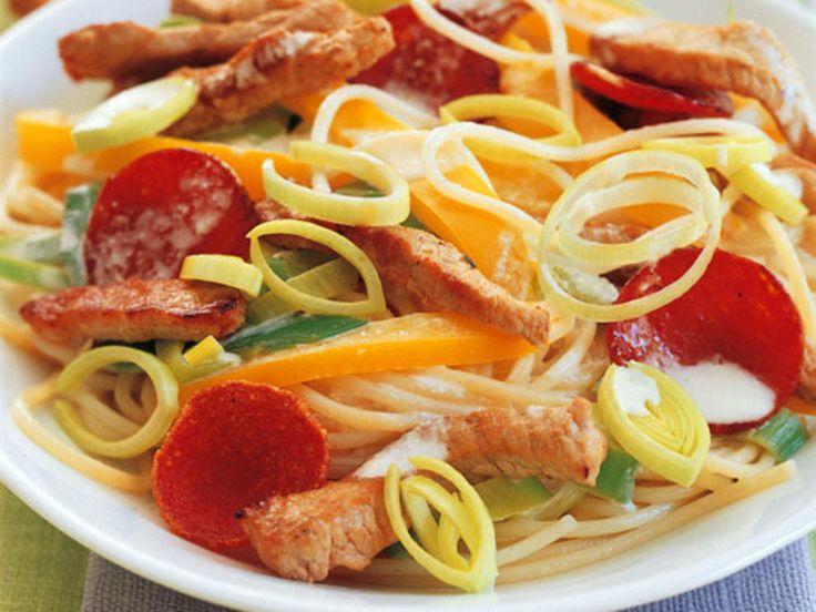 Kremet pasta med svinekjøtt og pepperoni