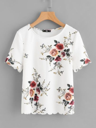 b15f85196c33a8 Flower Print Scalloped Top -SheIn(Sheinside) | w h i m s y | Scallop ...