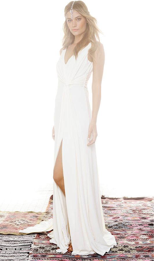 Halston Heritage D Cowl Back Gown White For Wear Winter Weddings Pinterest Gowns Wedding And Dresses