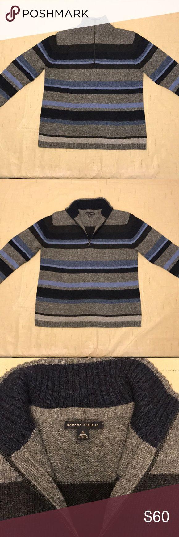 Men's half-zip Banana Republic 100% wool sweater 100% Wool Men's striped Banana Republic sweater. Half-zip. Blue/Gray Banana Republic Sweaters Zip Up