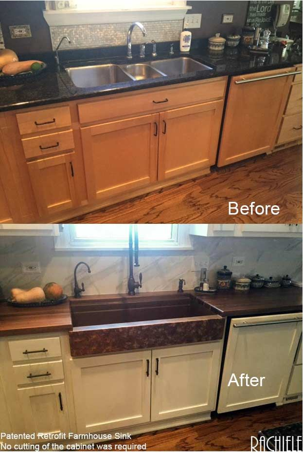 Before And After Triple Sink Replaced With Custom Retrofit Single