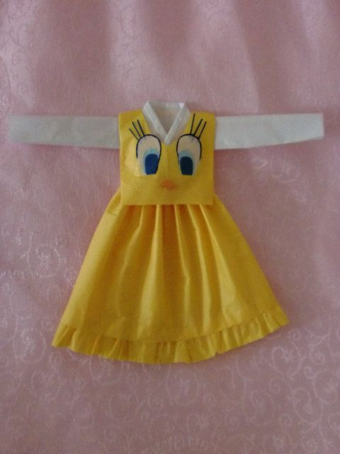 cute yellow big blue eye bird cartoon character theme hanbok by beautyfromwithin511 on Etsy